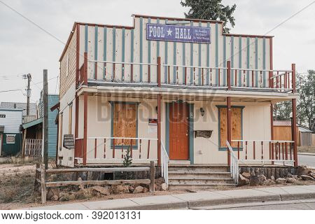 Cripple Creek, Colorado - September 16, 2020: The Pool Hall, Abandoned, As Part Of The Westward Ho M