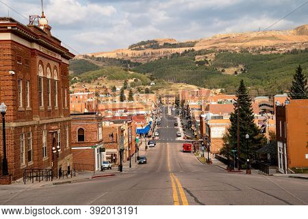 Cripple Creek, Colorado - September 16, 2020: Downtown Cityscape View Of The Tourist Gambling Town H