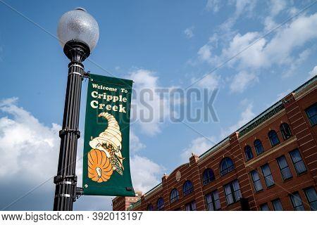 Cripple Creek, Colorado - September 16, 2020: Welcome To Cripple Creek Colorado City, Against A Blue