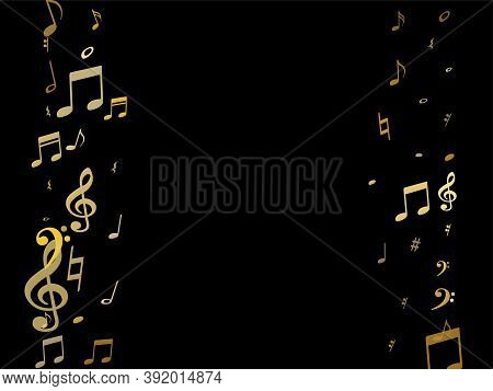 Gold Flying Musical Notes Isolated On Black Background. Stylish Musical Notation Symphony Signs, Not