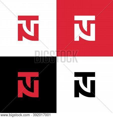 Letter Tn Or Nt Monogram Logo Design, Square Shape Symbol Vector Illustration