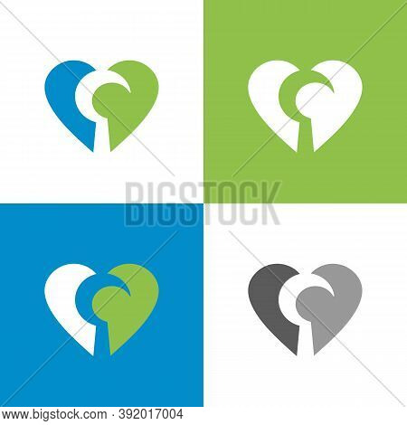 Sickle And Heart Logo Icon Design, Sickle Tool And Love Symbol - Vector