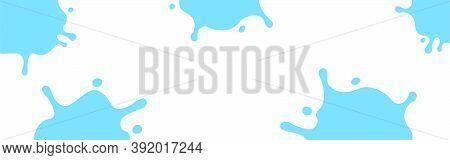 Milk Splash Light Blue On White For Banner, Milky Splatter On White Background, Copy Space, Milk Blo
