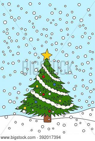 Christmas Tree Greeting Card. Snowy Winter Christmas Scene.