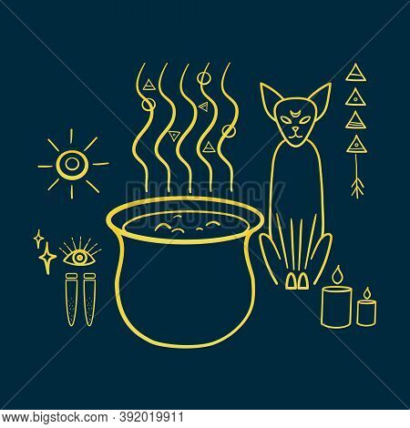 Cat With Occult Attributes: Potions, Cauldron, Candles, Occult Symbols. Occultism, Paganism, And Wit