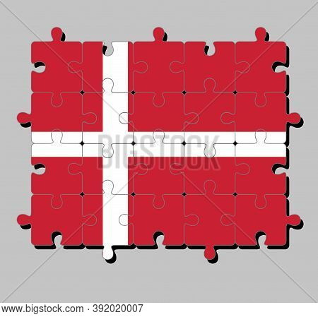 Jigsaw Puzzle Of Denmark Flag In Red With A White Scandinavian Cross That Extends To The Edges Of Th