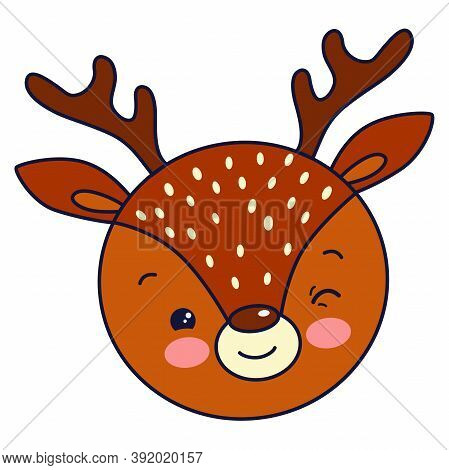 Vector Illustration: Cute Face Of Winking Christmas Deer. Merry Christmas Card Background.