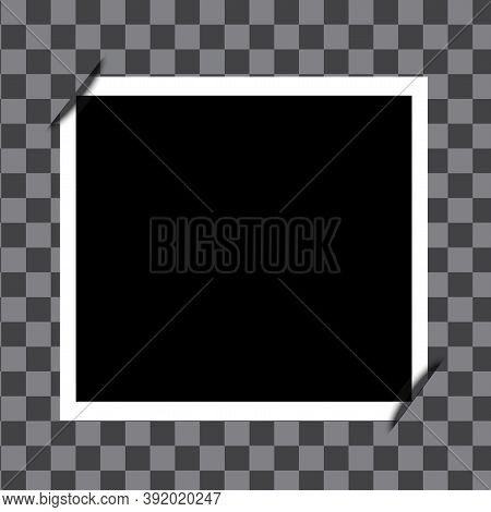 Empty Photo Frame On Checkered Background. Vector Black Retro Photo. Vintage Realistic Shot. Stock I