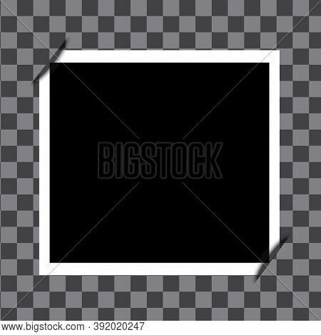 Empty Photo Frame On Checkered Background. Vector Black Retro Photo. Vintage Realistic Shot. Stock I