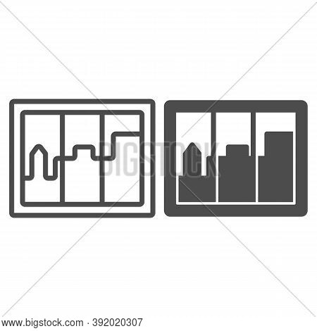 City Landscape In Window Line And Solid Icon, Interior Design Concept, Casement Sign On White Backgr