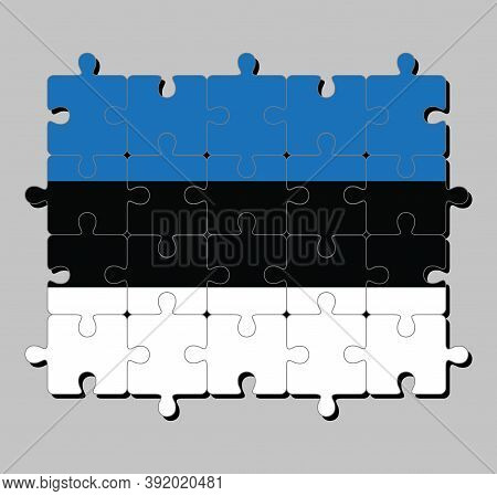 Jigsaw Puzzle Of Estonia Flag In Horizontal Triband Of Blue Black And White. Concept Of Fulfillment