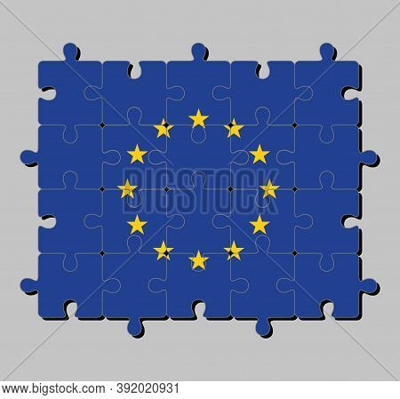 Jigsaw Puzzle Of European Union Flag In A Circle Of Twelve Five-pointed Yellow Stars On A Blue Field