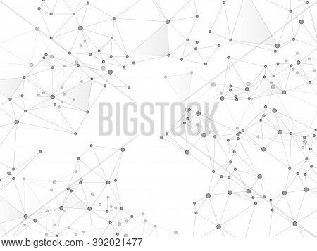 Geometric Plexus Structure Cybernetic Concept. Network Nodes Greyscale Plexus Background. Molecule,