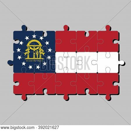 Jigsaw Puzzle Of Georgia Flag In Red White Red, Blue Canton Containing A Ring Of Stars Encompassing
