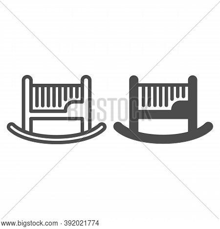 Baby Cot Line And Solid Icon, Furniture Concept, Baby Rocking Bed Sign On White Background, Cradle I