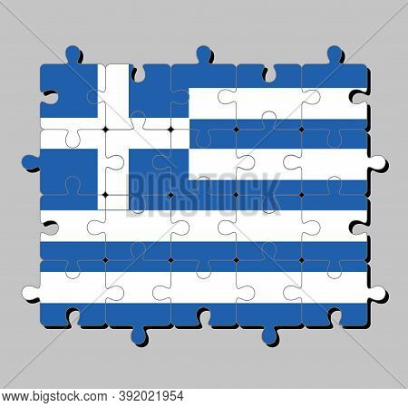 Jigsaw Puzzle Of Greece Flag In Nine Stripes Of Blue And White; A White Cross On A Blue Square. Conc