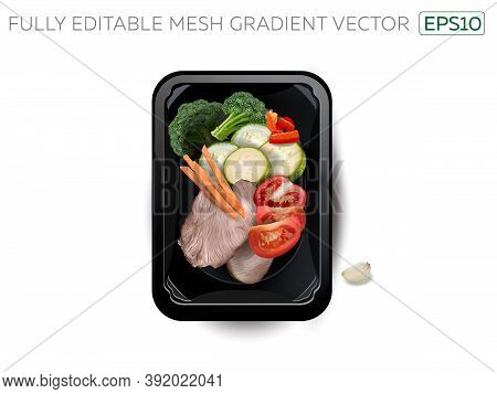 Boiled Meat With Zucchini, Broccoli And Tomatoes In A Lunchbox.