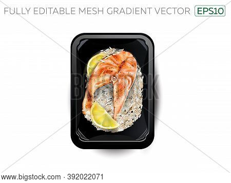 Salmon Steak With Rice And Lemon Slices In A Lunchbox.
