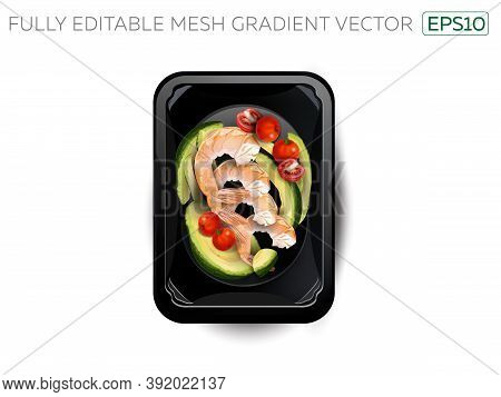 Shrimps With Avocado And Cherry Tomatoes In A Lunchbox.