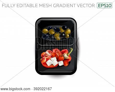 Vegetables And Feta Cheese In A Lunchbox.