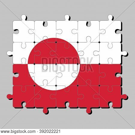 Jigsaw Puzzle Of Greenland Flag In White And Red Color With A Counterchanged Disk Slightly Off-centr