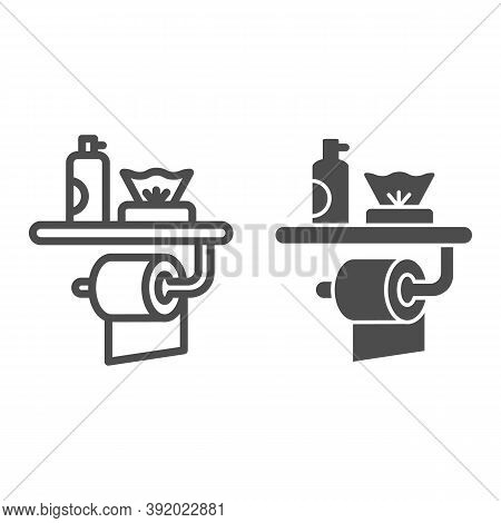 Toilet Paper, Air Freshener And Napkins Line And Solid Icon, Hygiene Concept, Toiletries Sign On Whi