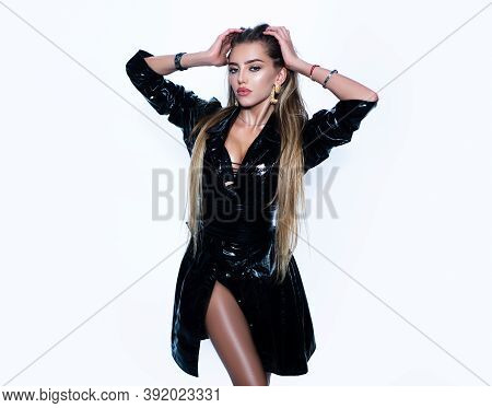 Beautiful Fetish Woman In Latex. Gorgeous Seductive Model Girl With Long Hair. Sexy Female Slim Body