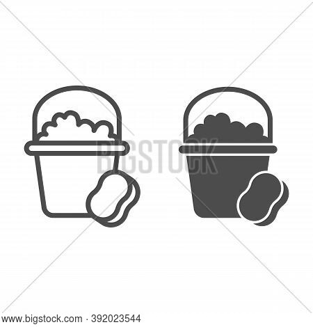Bucket With Soapy Water And Sponge Line And Solid Icon, Cleaning Service Concept, Home Cleaning Tool
