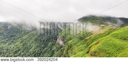 Landscape Of The Cliff Edge And Fog . Viewpoint In Phetchabun Province Thailand.