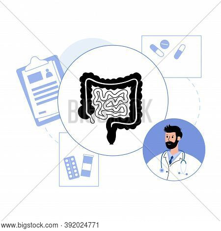 Intestine Logo For Gastrointestinal Clinic Or Hospital. Doctor Appointment, Consult And Help. Bowel,