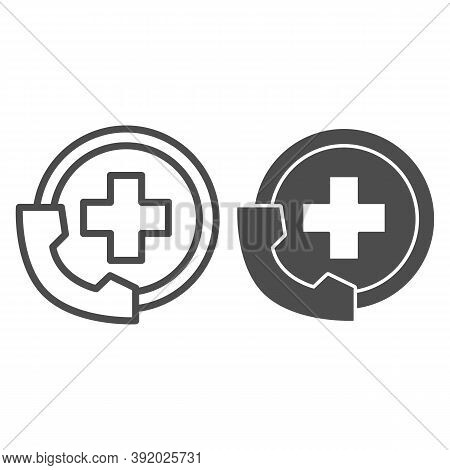 Handset And Medicine Cross Line And Solid Icon, Medical Concept, Emergency Call Sign On White Backgr