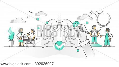 Pulmonology Lungs And Respiratory Air Breathing Monocolor Outline Concept. Health Check For Bronchi,
