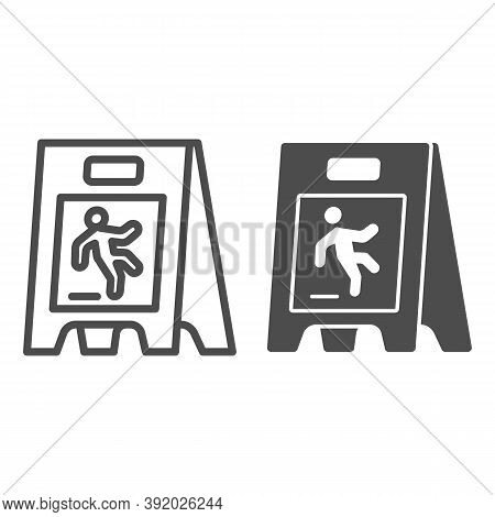 Wet Floor Line And Solid Icon, Cleaning Service Concept, Caution Wet Floor Standing Sign On White Ba