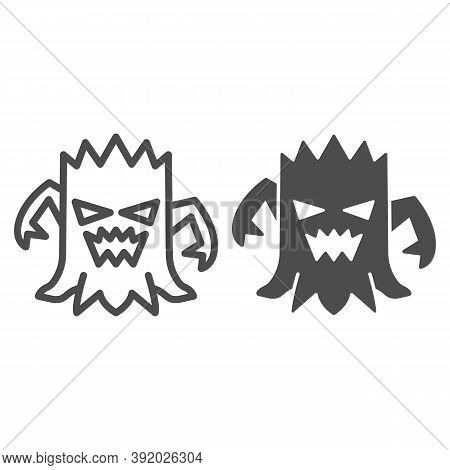 Stump With Face Line And Solid Icon, Halloween Concept, Talking Tree Sign On White Background, Scary