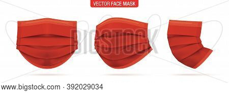 Red Surgical Face Mask, Vector Illustration. Medical Protective Masks, From Different Angles Isolate
