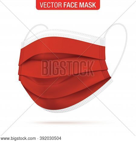 Red Surgical Face Mask, Vector Illustration. Coronavirus Protection 3 Ply Medical Mask In A Side Vie