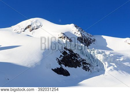 Mountain Snow Panorama On Glacier Taschachferner And Summit Wildspitze In Tyrol Alps, Austria