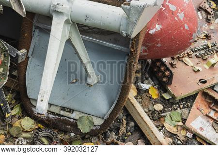 The Wreckage Of The Airplane, Parts Of The Fuselage And Passenger Seat Of The Burned And Broken Airc