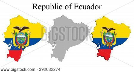 Flag Of Ecuador On Map And Map With Regional Division