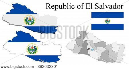 Flag Of El Salvador On Map And Map With Regional Division