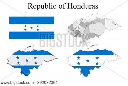 Flag Of Honduras On Map And Map With Regional Division