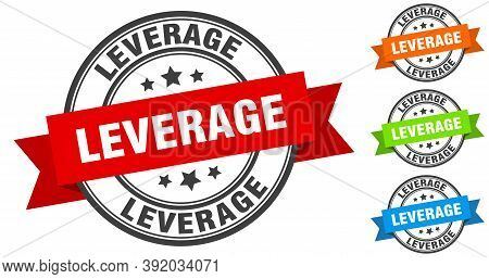 Leverage Stamp. Round Band Sign Set. Label