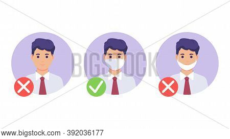 No Entry Without Wearing A Mask. Mask Required. No Entry Without Wearing A Mask. Man With And Withou