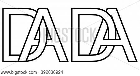 Logo Ad And Da Icon Sign Two Interlaced Letters A D, Vector Logo Ad Da First Capital Letters Pattern