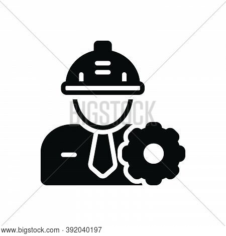 Black Solid Icon For Engineer Helmet Occupation Hat Maintenance Safety Equipment Work Config Repair