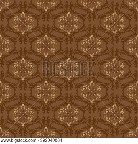 Smooth Texture Motifs On Fabric Solo Batik With Brown Color Design.
