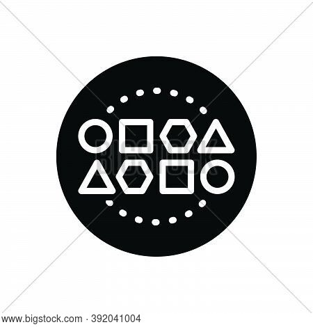 Black Solid Icon For Set Conglomeration Cluster Assembly Geometrical Collection Design