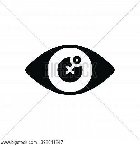 Black Solid Icon For Blind Eye Blindness Retina Optical Sightless Viewless Eyeless