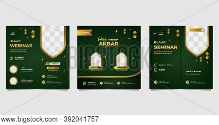 Collection Of Green And Gold Luxury Background With Islamic Ornament Concept. Perfect For Social Med