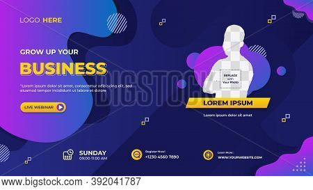 Vector Graphic Of Dark Blue And Purple Background With Fluid Shape Composition, Suitable For Web Ban
